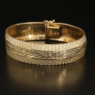 Italian 14K Textured Omega Chain Bracelet
