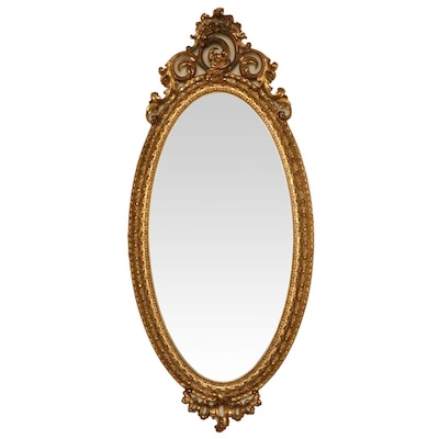 Rococo Revival Style Oval Giltwood and Gesso Wall Mirror, Early 20th Century