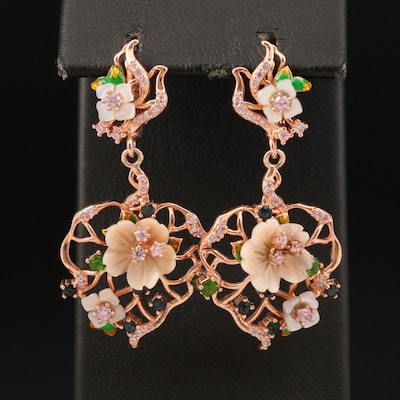 Sterling Floral Earrings Including Mother of Pearl, Diopside and Cubic Zirconia