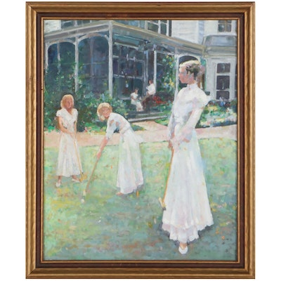 Genre Oil Painting of Ladies Playing Croquet
