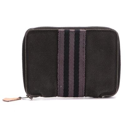 Hermès Paris Black and Grey Fourre Tout PM Canvas Wallet