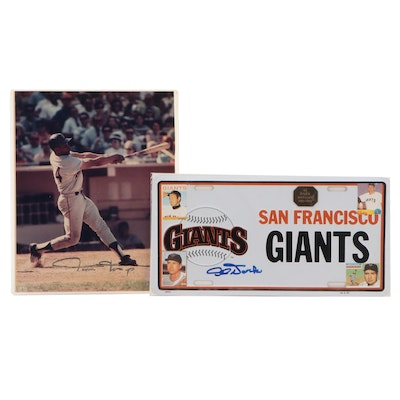 Willie Mays Signed Photo Print and  Al Dark San Francisco Giants License Plate