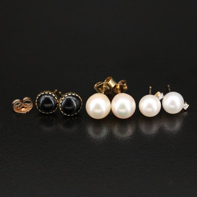 10K and 14K Gold Pearl with Black Onyx Stud Earrings