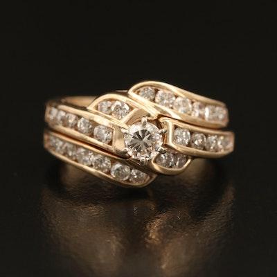 14K 0.88 CTW Diamond Ring Set