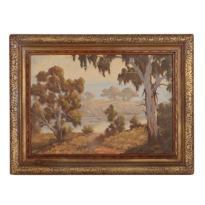 Percy Wort Landscape Oil Painting, Early to Mid-20th Century