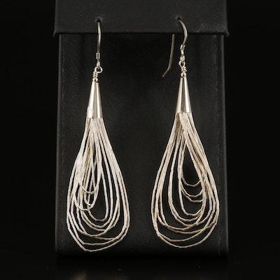 Sterling Liquid Silver Multi-Strand Earrings