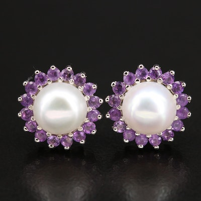 Sterling Silver Pearl Button Earrings with Amethyst Halos
