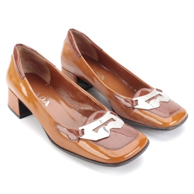 Prada Block Heel Loafers in Bicolor Patent Leather