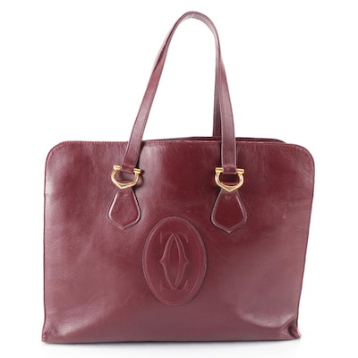 Les Must de Cartier Tote Bag in Burgundy Box Leather