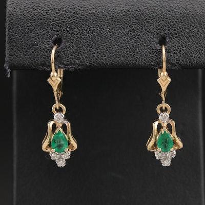14K Emerald and Diamond Drop Earrings