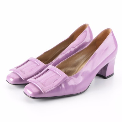 Gianni Versace Purple Patent Leather Buckle Pumps