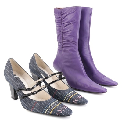 Christian Lacroix Denim Pumps with Bruno Magli Purple Leather Boots