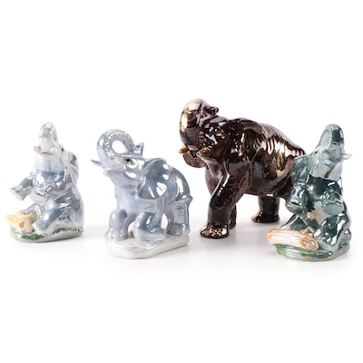 K's Collection Porcelain Elephant Figurines, Mid to Late 20th Century