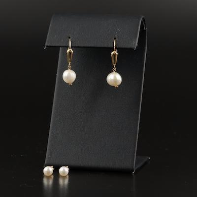 14K Pearl Stud and Drop Earrings