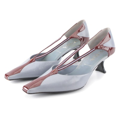 Prada Kitten Heels in Pale Blue Leather and Brown Patent Leather with Web Stripe