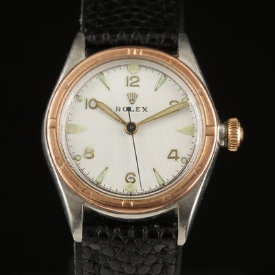 1935 Rolex Stainless Steel and Gold Filled Stem Wind Wristwatch