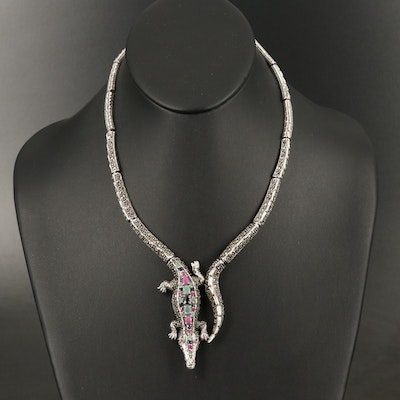Sterling Allegator Necklace Including Emerald, Ruby and Sapphire
