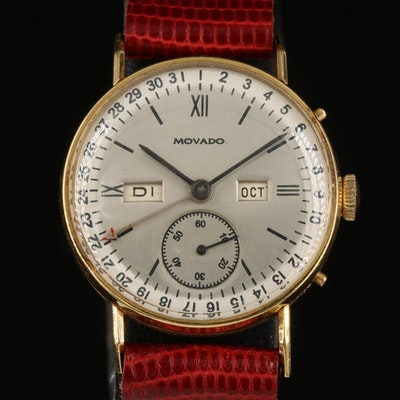 18K Movado Triple Calendar Wristwatch