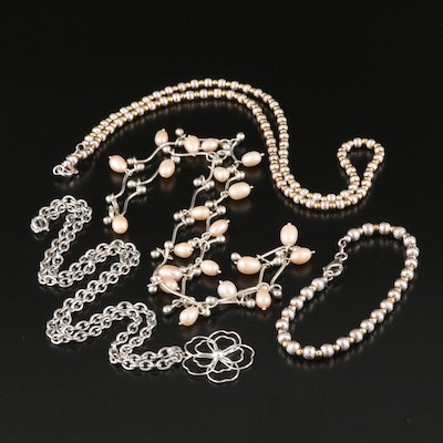 Sterling Silver Pearl Necklaces and Bracelets
