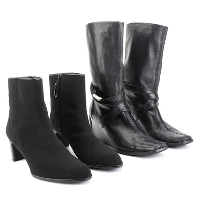 Stuart Weitzman Ankle Boots in Black Nylon and Leather Wedge Boots