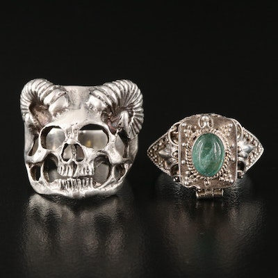 Sterling Bezyl Poison Ring and Demon Skull Rings