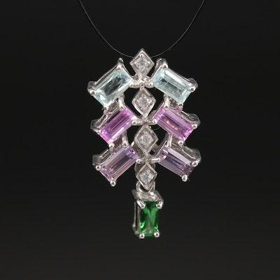 Sterling Aquamarine, Sapphire and Tourmaline Pendant