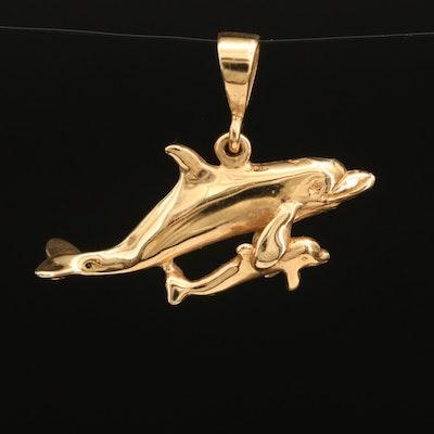 Wyland 14K Dolphin Duo Pendant