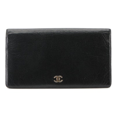 Chanel CC Continental Wallet in Black Goatskin Leather
