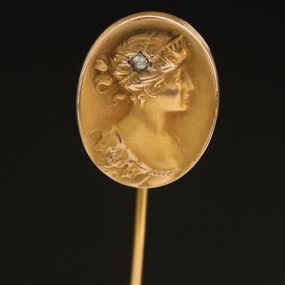 Art Nouveau 10K 0.02 CT Diamond Cameo Stick Pin
