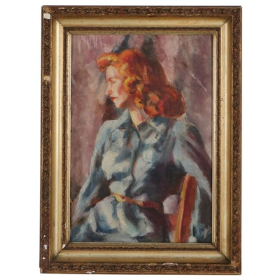 Oil Painting of Seated Woman, Circa 1940
