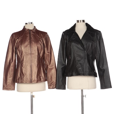 Neiman Marcus Exclusive Pearlized Lambskin and Black Leather Jackets