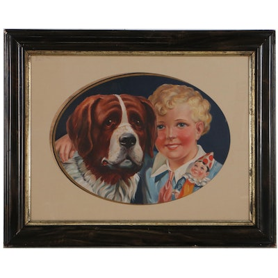 Gouache Painting of Child and St. Bernard, Early to Mid-20th Century
