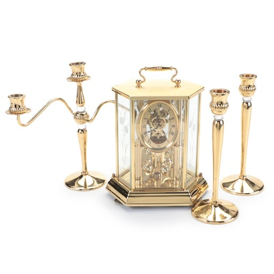 Partylite and Seth Thomas Polished Brass Candlesticks, Candelabra and Clock