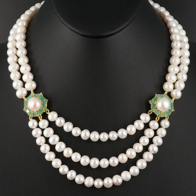 Sterling Silver Pearl and Emerald Festoon Necklace