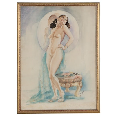 Mildred Schuster Watercolor Painting of Posing Female Nude, 1941