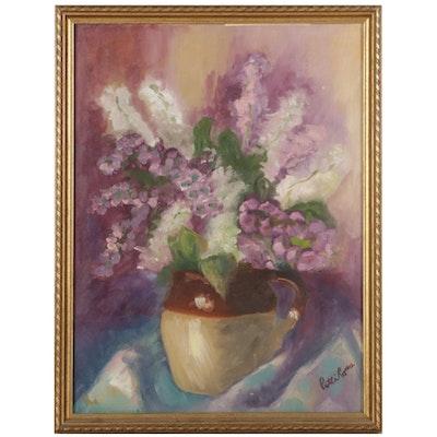 Patti Ross Still Life Oil Painting of Lavender Flowers in Jug