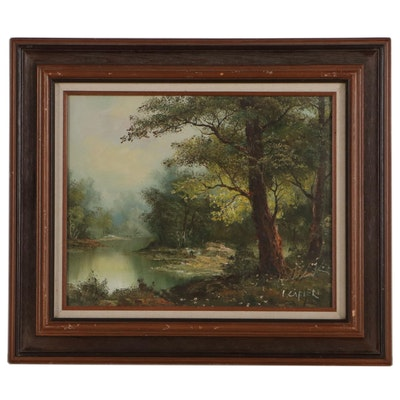 Irene Cafieri Landscape Oil Painting of Wooded Riverside