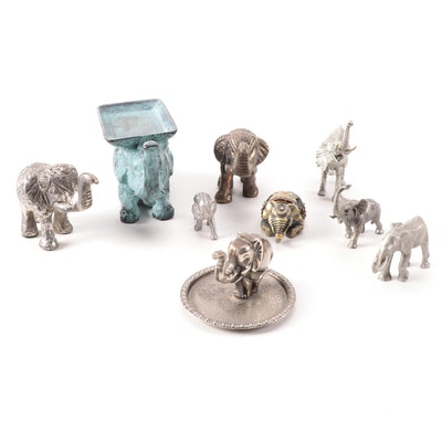 Pewter and Other Metal Elephant Figurines, Box, and Other Decorative Accents