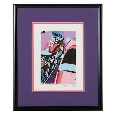 "Joseph Craig English Serigraph ""Harley Sidecar,"" Circa 1996"