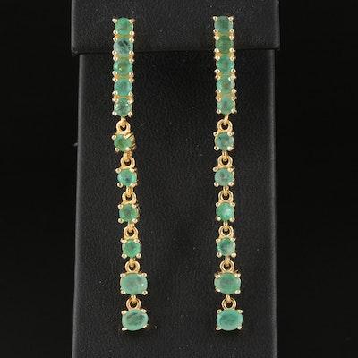Sterling Silver Emerald Line Earrings
