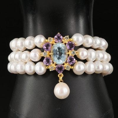 Sterling Silver Sky Blue Topaz and Amethyst Triple Strand Pearl Bracelet