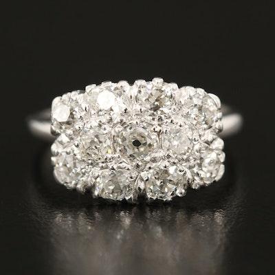 Vintage Orange Blossom Palladium and 14K 1.23 CTW Diamond Cluster Ring