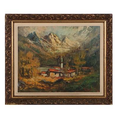 Landscape Oil Painting of Autumnal Mountain Scene