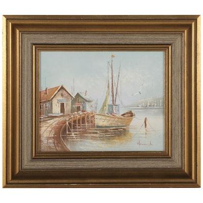 Harbor Scene Oil Painting of Fishing Boat Docked, Circa 2000