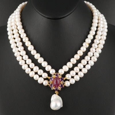 Sterling Pearl Necklace with Corundum and Amethyst Center and Drop