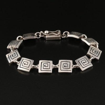 Sterling Silver Link Bracelet with Geometric Spiral Pattern