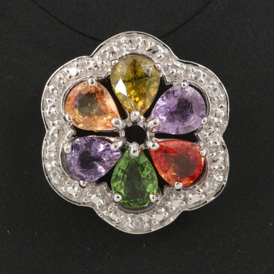Sterling Scalloped Edge Tourmaline, Sapphire and Zircon Floral Pendant