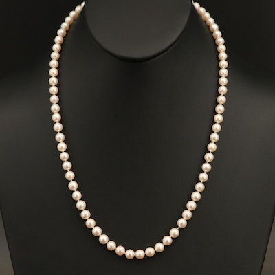 Near-Round Pearl Necklace with 14K Clasp