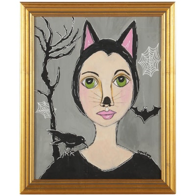 "Deborah McEvoy Folk Art Acrylic Painting ""Hocus Pocus,"" 21st Century"