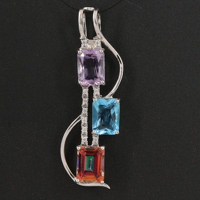 Sterling Silver Amethyst, Topaz and Sapphire Pendant